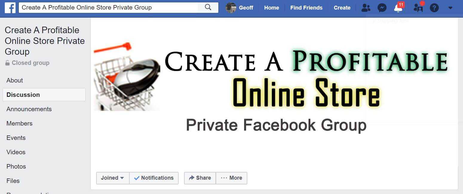 Profitable Online Store-Private Facebook group
