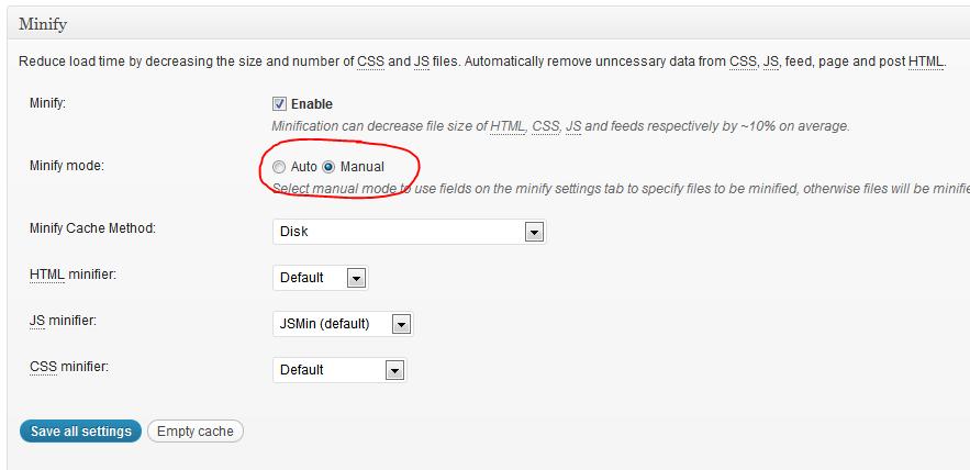 W3 Cache - Minify settings