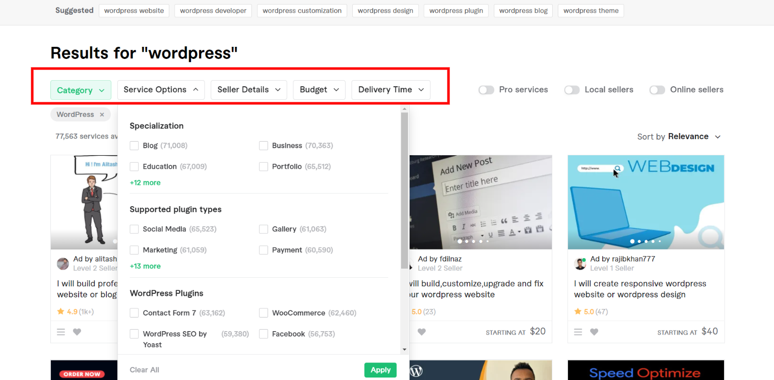 Fiverr WordPress - Search Filters