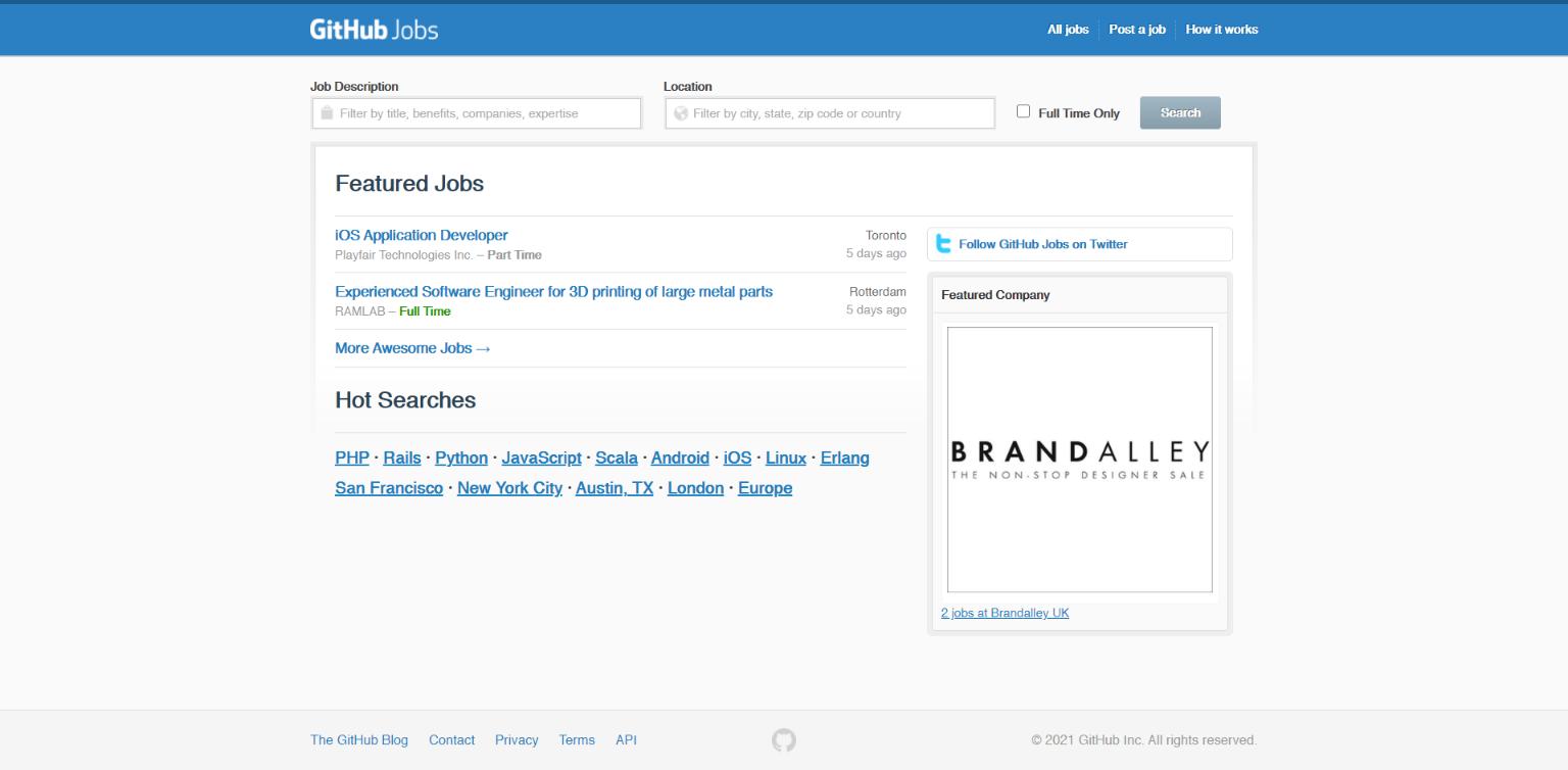 Freelance Websites for Developers - GitHub Jobs