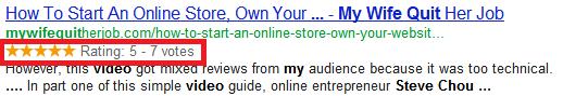 google rating stars example