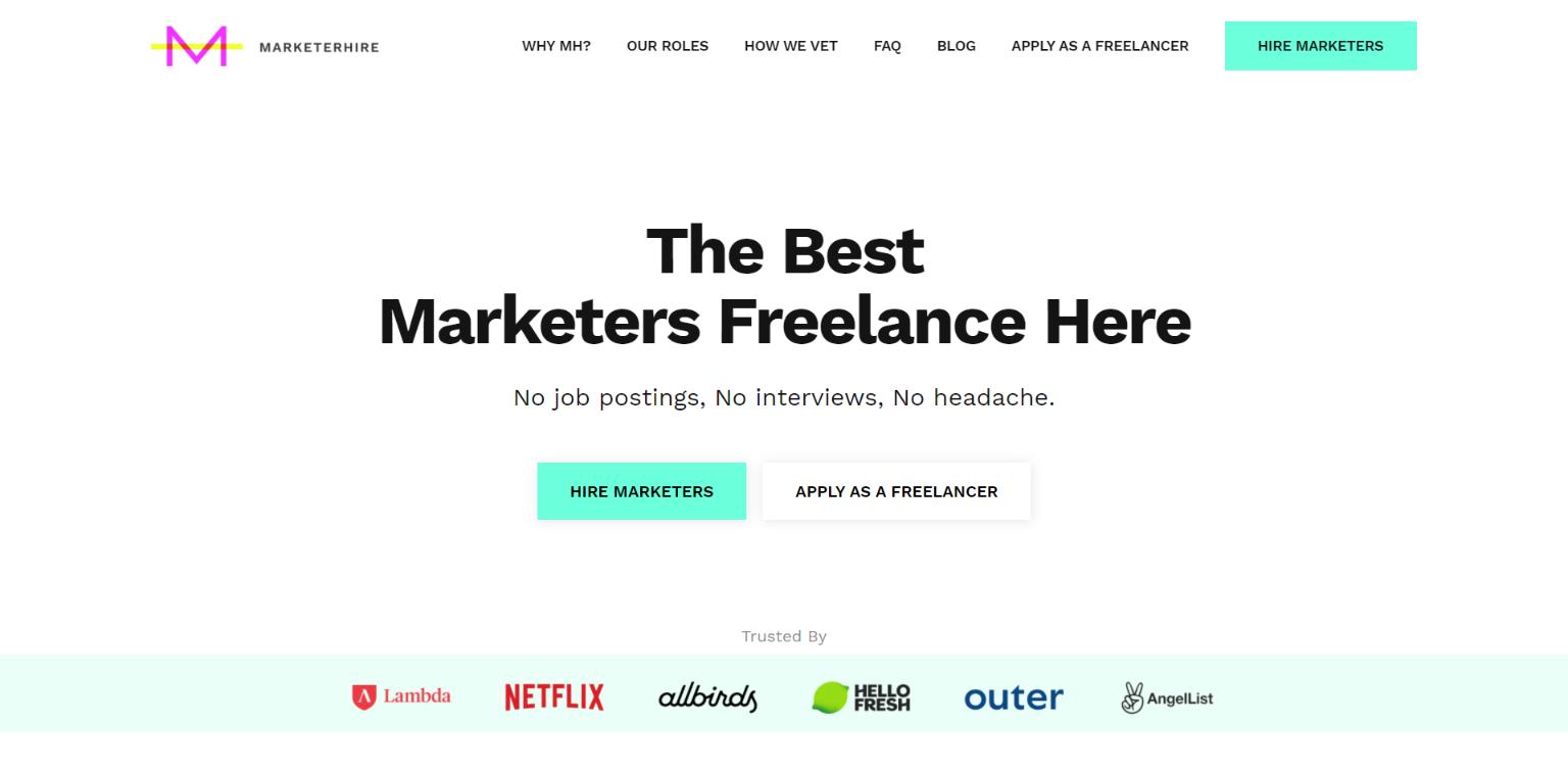 MarketerHire - Freelance Website for Marketers