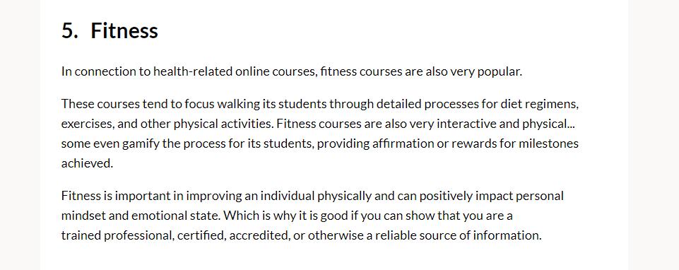 Best Online Course Niche - Fitness