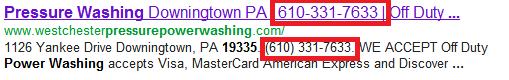 phone number in meta tags