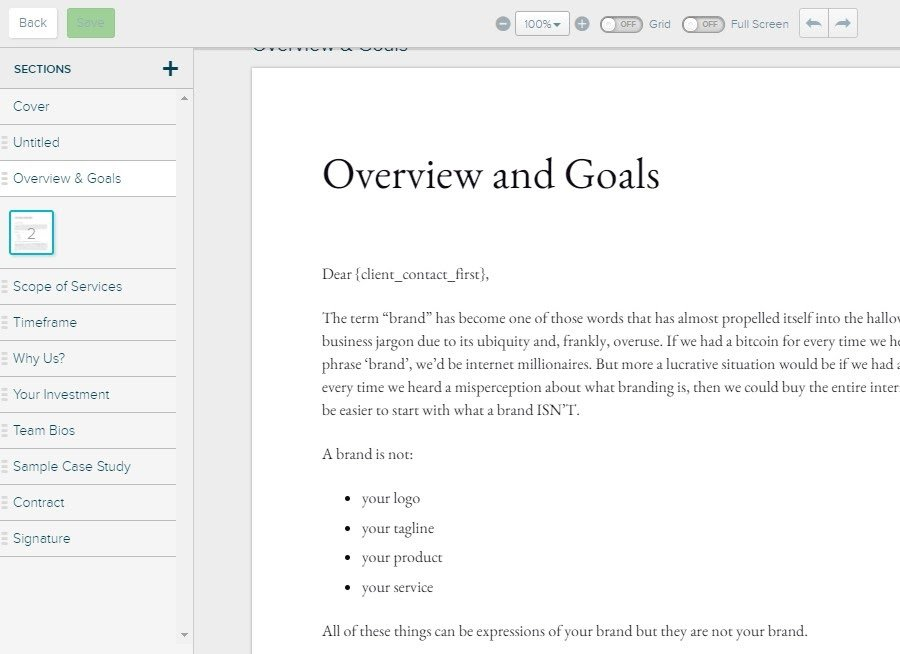 Proposify Review - Editing Templates