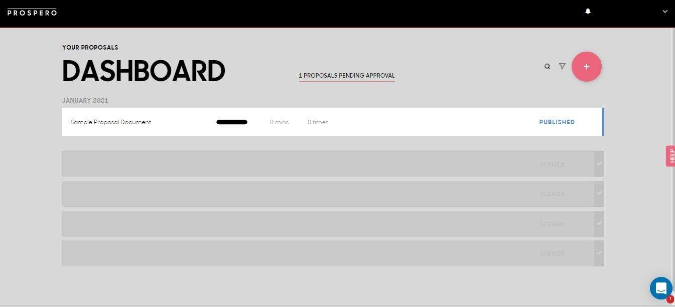 Prospero Review - Dashboard