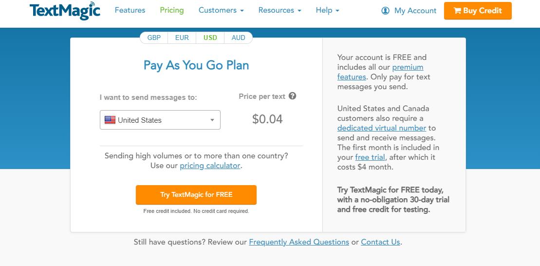 TextMagic Pricing